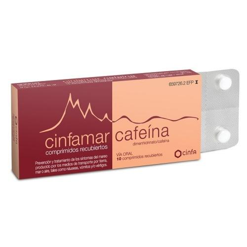 CINFAMAR CAFEINA 50 mg/50 mg COMPRIMIDOS RECUBIERTOS , 10 comprimidos