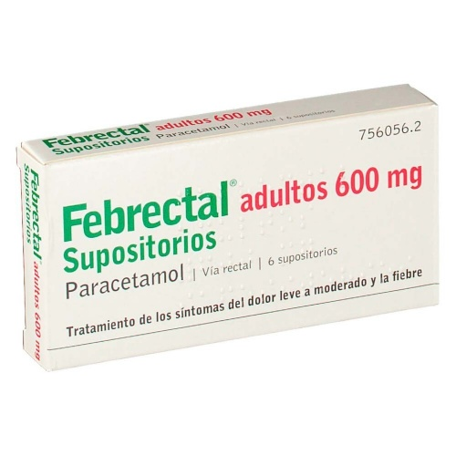 FEBRECTAL ADULTOS 600 mg SUPOSITORIOS , 6 supositorios