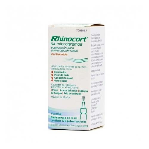RHINOCORT 64 microgramos SUSPENSION PARA PULVERIZACION NASAL, 1 envase pulverizador de 120 dosis
