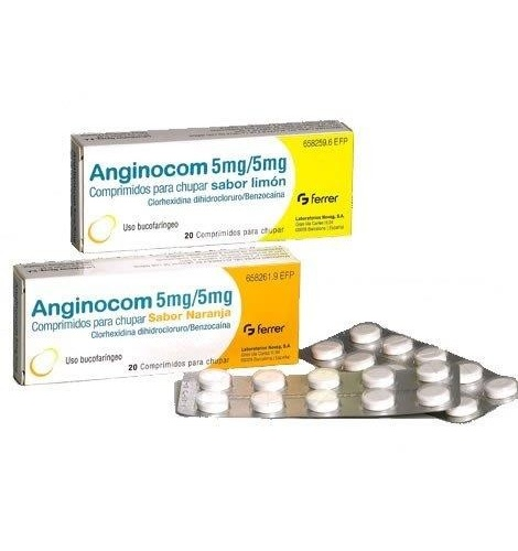 ANGINOCOM 5 mg/5 mg COMPRIMIDOS PARA CHUPAR SABOR LIMON, 20 comprimidos
