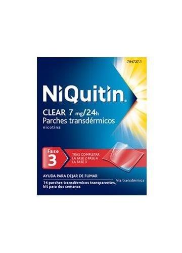 NIQUITIN CLEAR 7 mg/24H PARCHES TRANSDÉRMICOS , 14 parches
