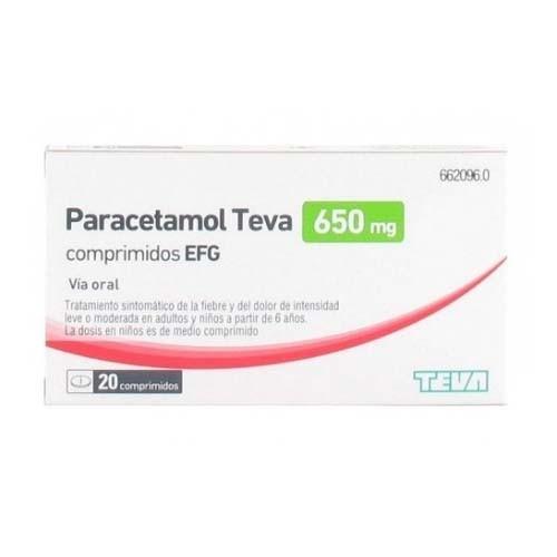 PARACETAMOL TEVA-RIMAFAR 650 MG COMPRIMIDOS EFG , 20 comprimidos