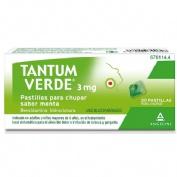 TANTUM VERDE 3 mg PASTILLAS PARA CHUPAR SABOR MENTA , 20 pastillas